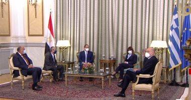 """رئيسة اليونان لـ""""السيسى"""": مصر دولة رائدة فى العالمين العربي والإسلامى"""