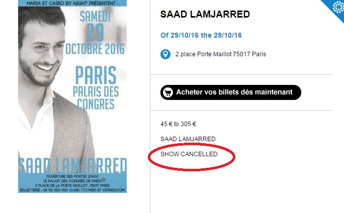 رسميا.. إلغاء حفل سعد لمجرد فى باريس